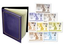 26 UK Coin Covers each featuring The Royal Mint's 2019 A-Z of Great Britain 10p coins and Royal Mail's Definitive Union Jack Stamp and official unique Royal Mail smiler stamp. EL: 495