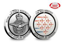 Celebrating the Red Arrows 2019 Display Season, this Medal is a WORLD FIRST, featuring the Red Arrows in the famous Diamond Nine formation, spins 360 degrees. Silver-plated to an antique finish.