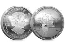 This pure silver proof coin has been issued by The Royal Canadian Mint to mark the 50th Anniversary of the Apollo 11 Moon Landings. Convex design and comes presented in Royal Canadian Mint packaging.