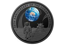 This 1oz Silver Coin has been issued by The Royal Australian Mint to commemorate the 50th Anniversary of the Apollo 11 Landings. The coin is plated in black nickel, struck to a proof finish is domed.