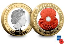 This coin is a £2 Silver Proof with the reverse of the coin featuring a red ink poppy, along with additional gold-plating.The text reads 'we will remember them'.