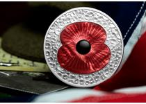 To mark the anniversary of Remembrance Day, this silver 5oz coin has been issued, featuring a red poppy made from Mother of Pearl.