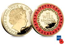 £5 Poppy Coin. Struck in CuNi Proof with 24ct gold plating and red ink. The reverse shows 'We Will Remember Them' with red poppies.