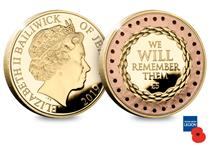 This £5 coin is struck in 24 carat gold with rose gold poppies on the reverse surrounding the quote 'We will remember them'.