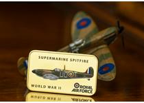 The RAF Supermarine Spitfire 24 Carat Gold-Plated Ingot features a full colour illustration of the iconic aircraft. The reverse features an engraved RAF Wings logo with their motto.