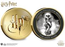 This official Harry Potter medal features the Dark Mark on the reverse and the Harry Potter logo on the obverse. The medal comes protectively encapsulated in official Harry Potter packaging.