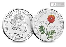 This 2019 £5 Remembrance Day coin has been released to mark a century of respect. This £5 has been protectively encapsulated and certified as superior Brilliant Uncirculated quality.