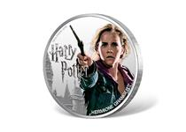 This coin is struck in 1oz of fine silver to a proof finish. Issued by Fiji, this 1 dollar coin features a coloured photographic image of Hermione Granger. Official Harry Potter Coin.