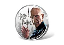 This coin is struck in 1oz of fine silver to a proof finish. Issued by Fiji, this 1 dollar coin features a coloured photographic image of Voldemort.