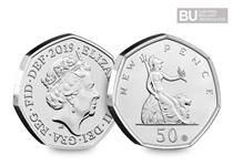 This 2019 50p has been released to celebrate 50 years of the 50p anniversary. It features a special minting first around the rim to reference the design.