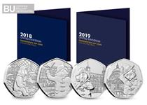 The Complete Paddington 50p Collecting Packs include all four Paddington Bear 50p coins issued by The Royal Mint in 2018 + 2019 in superior Brilliant Uncirculated quality.