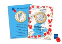 This brand new £2 coin features an engraved poppy with words 'we will remember them'. Struck to a superior Brilliant Uncirculated quality.