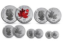 This 2020 Pure Silver Maple Leaf Set has been issued to celebrate the 40th anniversary of the national anthem O Canada. The 1oz coin features selective red colouring and a red Swarovski crystal
