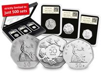 This set includes the first 50p coin issued in 1969, the 1973 EEC 50p coin, and the new issue 2019 50th Anniversary of the 50p. Officially postmarked 14.09.19, 50 years since the first 50p was issued.