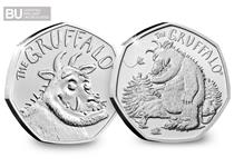 Both the UK 2019 Gruffalo BU 50p coins - The Gruffalo and The Gruffalo and The Mouse. The two 50p coins have been protectively encapsulated and certified as superior Brilliant Uncirculated quality.