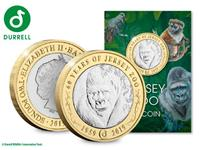 2019 marks the 60th anniversary of Jersey Zoo and the reverse of this new £2 coin features an engraving of a Gorilla with the words '60 years of jersey zoo'.