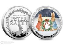For Christmas 2019 this Peter Rabbit Commemorative has been released. Reverse features Peter Rabbit and his sister holding a Christmas Wreath. Obverse features the official Peter Rabbit logo. EL: 9995