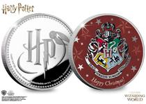 The Harry Potter Silver Christmas Medal is struck from .925 Silver to a proof finish, the reverse features the Hogwarts Crest, the obverse features the Official Harry Potter Logo. Edition Limit: 995