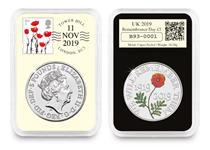 This 2019 DateStamp features the £5 Remembrance Day coin issued by The Royal Mint to mark the centenary of Remembrance Day. It is postmarked 11.11.19 to commemorate the occasion.