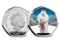 The Royal Mint 50p features a full colour image of The Snowman. Struck from .925 Sterling Silver to a proof finish. Presented in official Royal Mint presentation block with certificate. EL 25,000