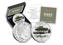 This £5 coin has been issued to mark the 75th anniversary of the Normandy Landings and features three vehicles used during D-Day- Cromwell Mk IV Tank, Airspeed Horsa Glider, Royal Navy Landing Craft.