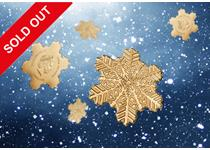 This Golden Snowflake Coin issued by the Cook Islands is made from 999/1000 gold. Minted in the shape of a snowflake, the coin is a silk finish.