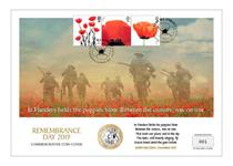 Large Coin Cover issued to mark Remembrance Day. Features 3 official Royal Mail 1st Class Poppy stamps alongside the official £2 Poppy coin. Officially licensed by RBL. Postmarked: 11.11.19. EL: 495.