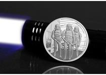 Struck from 1oz of pure .999 Silver, this coin features Stormtroopers on the reverse. Comes in bespoke presentation case with a Certificate of Authenticity. Worldwide Edition Limit: 10,000.