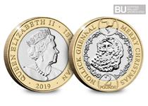 This Isle of Man £2 coin has been issued in celebration of Christmas 2019. It features a design of the famous legendary figure, Santa Claus.
