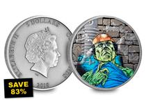 To celebrate the 200th Anniversary year of Mary Shelley's horror novel 'Frankenstein' this remarkable silver coin has been issued in full colour with UV details showing electrical currents.