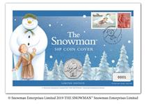 The Snowman 50p Coin Cover features the brand new Royal Mint 2019 The Snowman Brilliant Uncirculated 50p coin alongside the 1993 The Snowman and Father Christmas 1st class stamp. Edition Limit: 1,000.