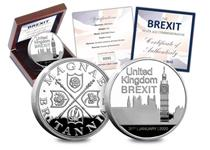 A brand new commemorative struck to mark the date when the UK left the EU. Featuring the houses of Parliament, the date and heraldic symbols. Made from 1oz of .999 Silver. Edition Limit: 2,019.