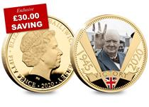 This 24 Carat Gold-Plated coin features the iconic image of Winston Churchill, in full colour, giving the 'V' for Victory sign.  It has been issued to mark the 75th Anniversary of VE Day.