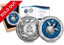Struck from 3oz of pure silver, this coin features the Sea Turtle - the ultra high relief turtle in 3D. Obverse also features an ocean creature design.