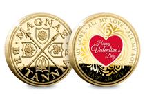 This Valentine's Day Commemorative features a heart design on the reverse which reads: 'Happy Valentine's Day'. This commemorative is 24 carat gold-plated and has an edition limit of 2020.