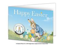 The Peter Rabbit Easter 2020 Commemorative features a colour illustration of Peter Rabbit in an Easter Wreath. It comes presented in an Easter card. Edition limit of 9,995. Silver-plated, Proof finish