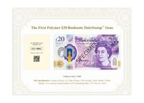 This DateStamp issue is for the UK's first polymer £20 banknote. It features the portrait of artist JMW Turner on the reverse next to an image of one of his most famous works - The Fighting Temeraire.