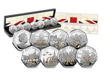 2020 marks the 75th anniversary of VE Day. This set is made up of 7 50p coins that spell out the word VICTORY in selective 24 carat gold plating. The coin itself is struck from .925 silver.