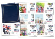 To mark the 75th Anniversary of VE Day your covers each feature the 2020 Royal Mail stamp and a BU IoM Victory 50p. Postmarked on the coin issue date 27.02.20 Each stamp has a Philatelic Label. EL:750