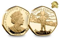This coin issue commemorates the 100th anniversary of Rupert the Bear. Struck from 22 carat gold to a proof finish, the design features Rupert alongside the denomination.
