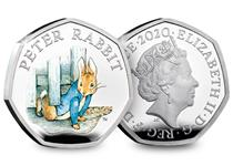 This Silver Proof 50p is struck from .925 Sterling Silver to a proof finish and features an original illustration of Peter Rabbit, presented in its official Royal Mint presentation box.