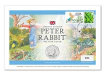 UK 50p Cover featuring The Royal Mint's 2020 Peter Rabbit 50p, and a stamp alongside a Philatelic Label featuring a design of Peter Rabbit. Officially Postmarked: 19.03.20 Edition Limit: 995