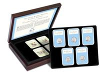 Boxed Collection with The Royal Mint's Complete Peter Rabbit 50p set released from 2016 to 2020, alongside four IoM Peter Rabbit stamps. All come within a tamper-proof capsule. Edition:495
