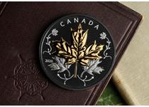 This 5oz Silver Proof Maple Leaf in Motion coin from the Royal Canadian Mint features dual plating. Yellow gold and black rhodium and fine silver in the design. Struck from 99.99% silver