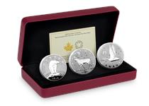 3 pure silver coins featuring designs by Emanuel Hahn which have never appeared on Canadian coinage. Each is struck to a proof finish. Comes in official Mint packaging with certificate.