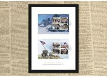 The VE Day Stamps Framed Edition features the new official Royal Mail End of World War II stamp panes, featuring 8 stamps. The stamps are presented in an A4 frame, and have been postmarked.
