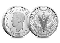 $20 Fine Silver coin issued by The Royal Canadian Mint to commemorate the 75th Annviersary of VE day. The design takes inspiration from the V for victory and has been struck from Fine Silver.