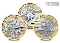 The Set of Three £2 coins includes all three UK Captain Cook £2 coins issued by The Royal Mint to celebrate Cook's Voyage of Discovery. Each coin has been certified as Brilliant Uncirculated quality.