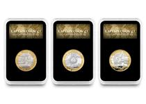 This set brings together the three Silver Proof UK coins issued by The Royal Mint retelling the story of Captain Cook's famous adventure to discover Australia. Complete in a deluxe presentation case.