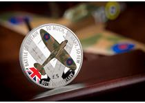 2020 marks the 80th anniversary of the Battle of Britain. This coin is struck from .925 Silver and feautres an image of a Spitfire in selective coloured ink.